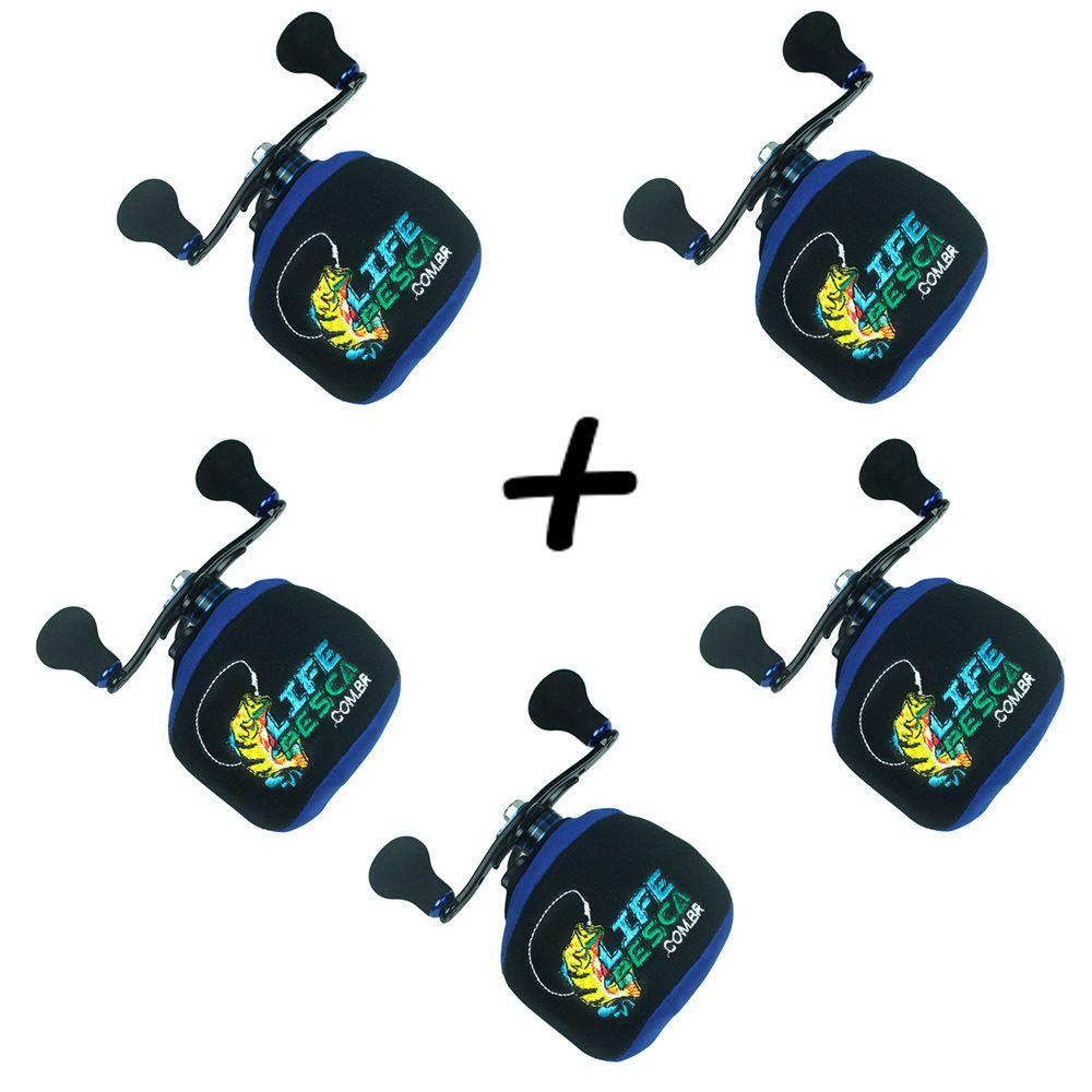 Kit 5 Capas Protetora P/ Carretilha Perfil Baixo em Neoprene Azul - Life Pesca