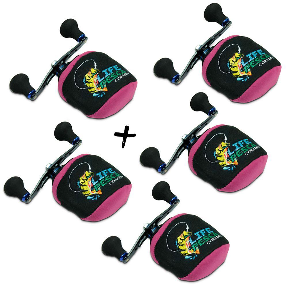 Kit 5 Capas Protetora P/ Carretilha Perfil Baixo em Neoprene Rosa - Life Pesca