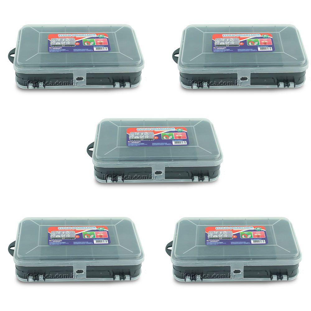 Kit 5 Estojos Organizador Para Pesca Mini Double Case 8002 - Arqplast