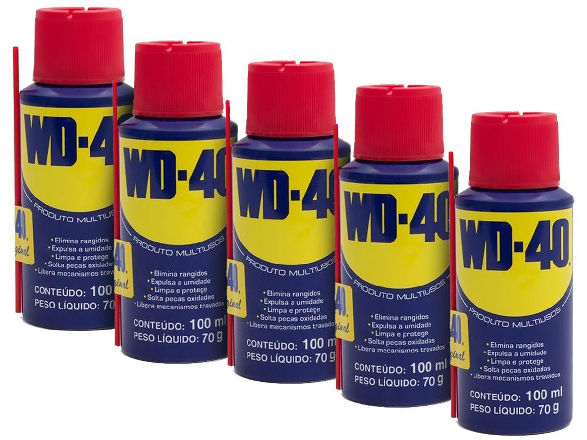 Kit 5 Lubrificantes WD-40 Spray Multiuso - 5 x 100ml
