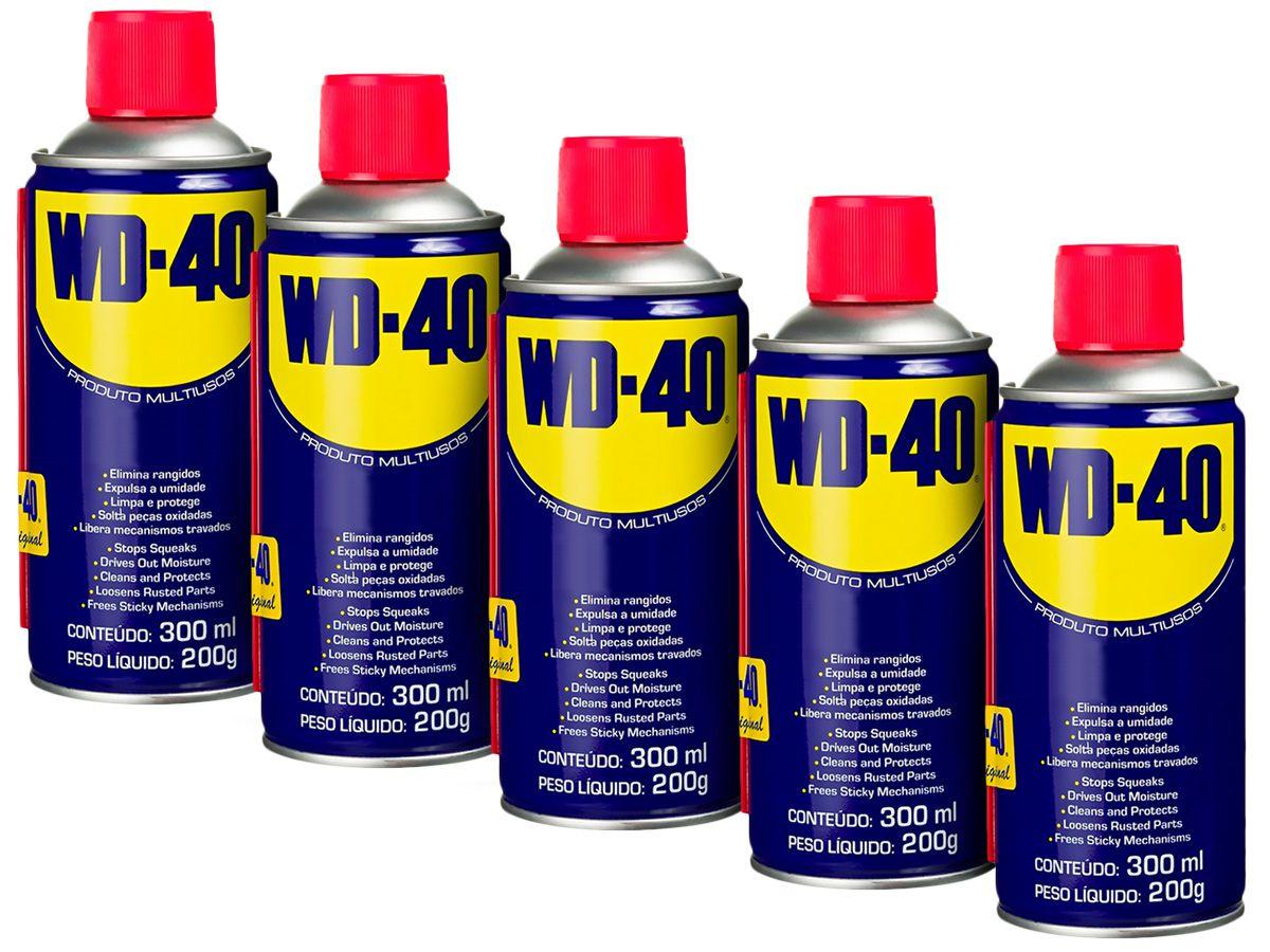 Kit 5 Lubrificantes WD-40 Spray Multiuso - 5 x 300ml