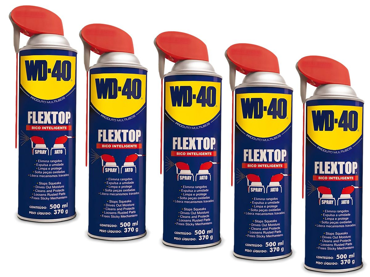 Kit 5 Lubrificantes WD-40 Spray Multiuso - 5 x 500ml