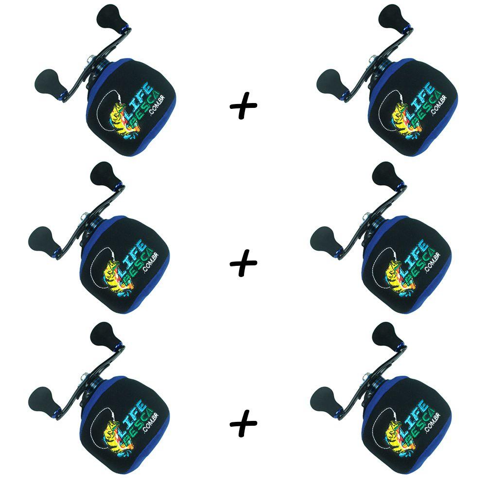 Kit 6 Capas Protetora P/ Carretilha Perfil Baixo em Neoprene Azul - Life Pesca
