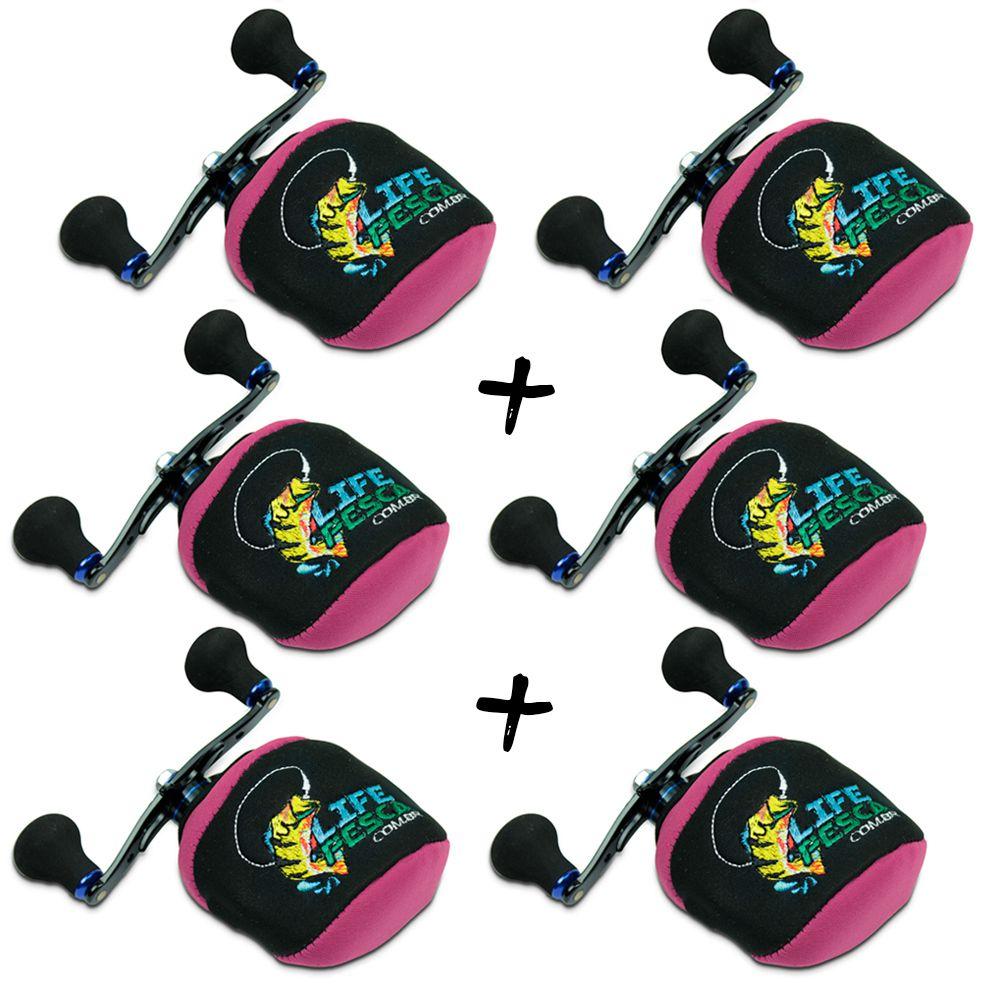 Kit 6 Capas Protetora P/ Carretilha Perfil Baixo em Neoprene Rosa - Life Pesca
