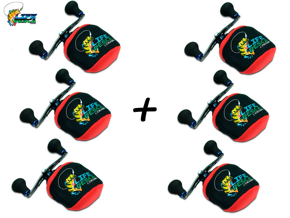 Kit 6 Capas Protetora P/ Carretilha Perfil Baixo em Neoprene Vermelha - Life Pesca