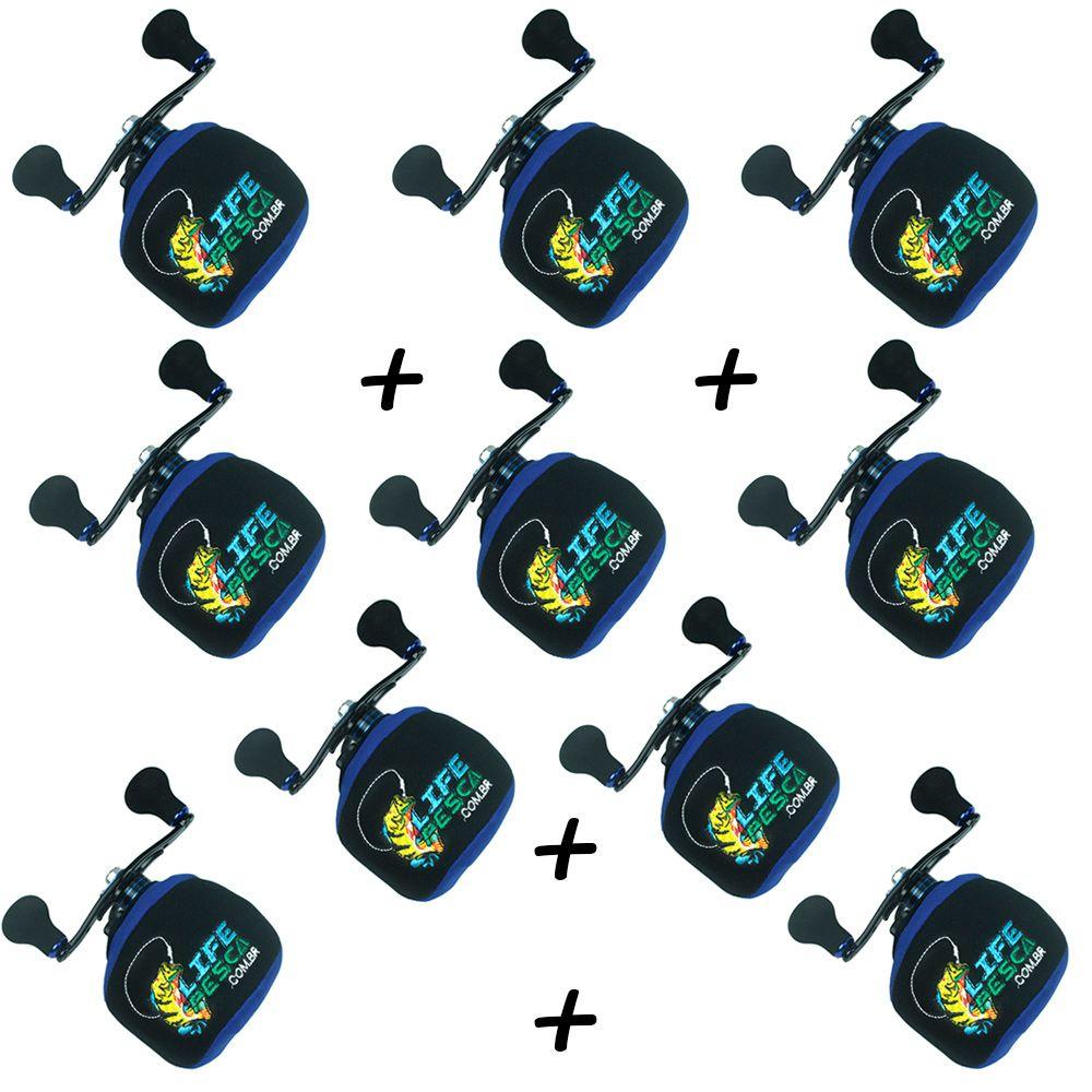 Kit 8 Capas Protetora P/ Carretilha Perfil Baixo em Neoprene Azul - Life Pesca