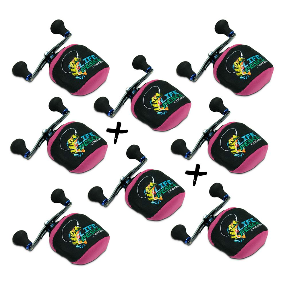 Kit 8 Capas Protetora P/ Carretilha Perfil Baixo em Neoprene Rosa - Life Pesca