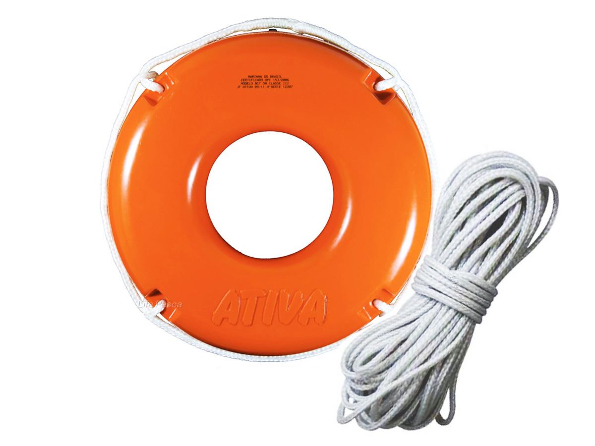 Kit Boia Circular Salva Vidas 50cm Classe III + Corda de Retinida Flutuante 10mm (20 Metros) - Ativa Náutica