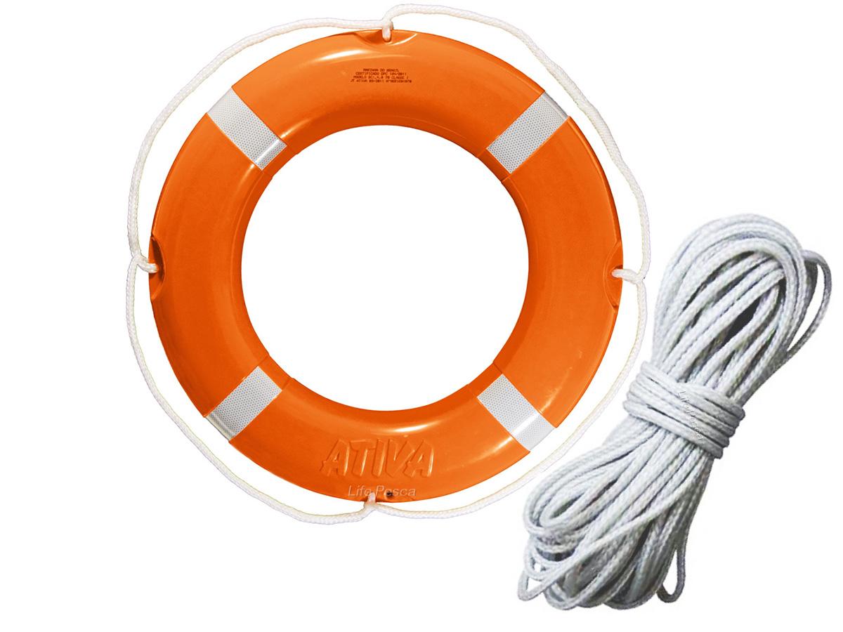 Kit Boia Circular Salva Vidas 70cm Classe I + Corda de Retinida Flutuante 10mm (30 Metros) Ativa Náutica