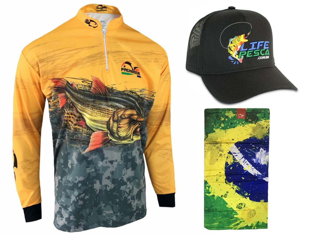 Kit Camiseta de Pesca Faca na Rede CS Dourado 2021 + Bandana + Boné