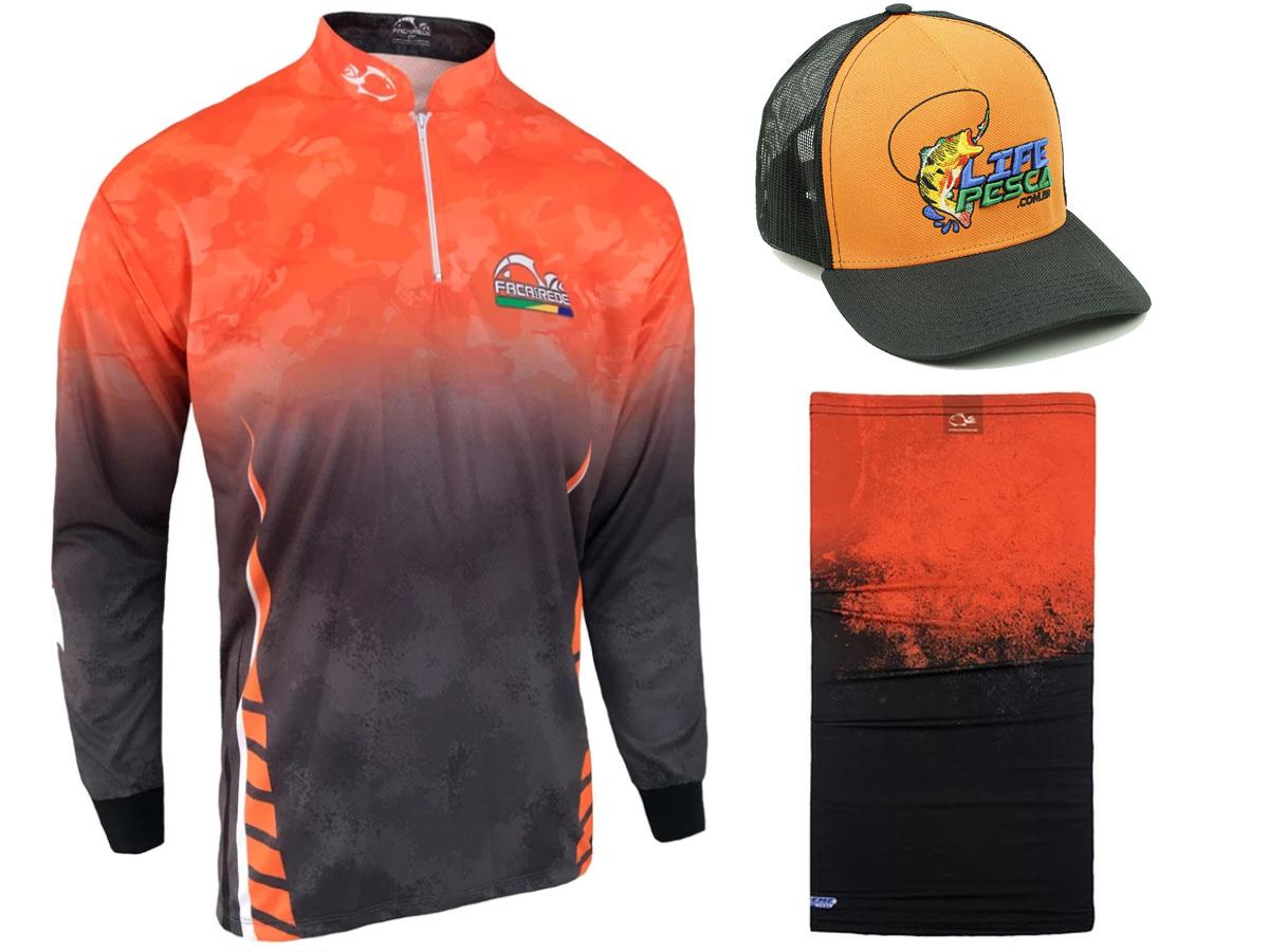 Kit Camiseta de Pesca Faca na Rede CS - Logo III 2021 + Bandana + Boné