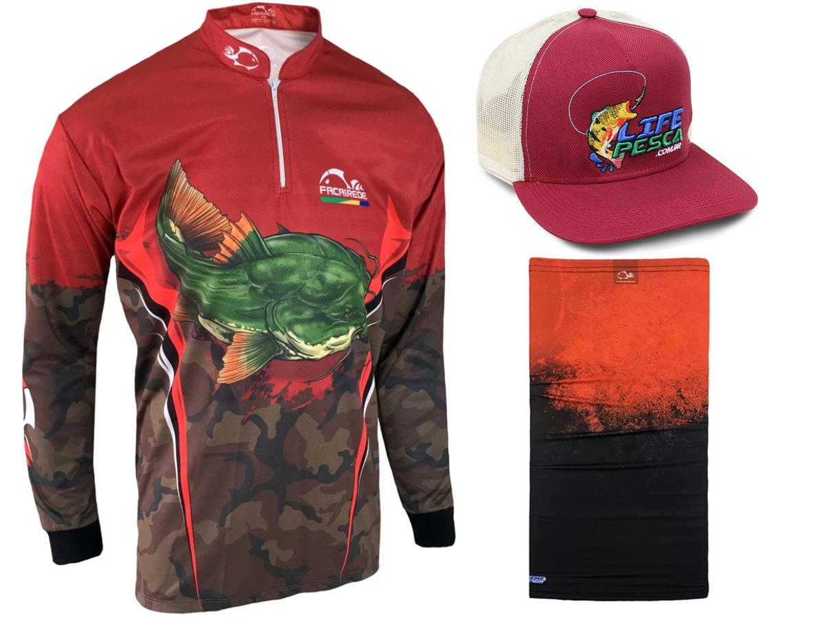 Kit Camiseta de Pesca Faca na Rede CS - Pirarara 2021 + Bandana + Boné