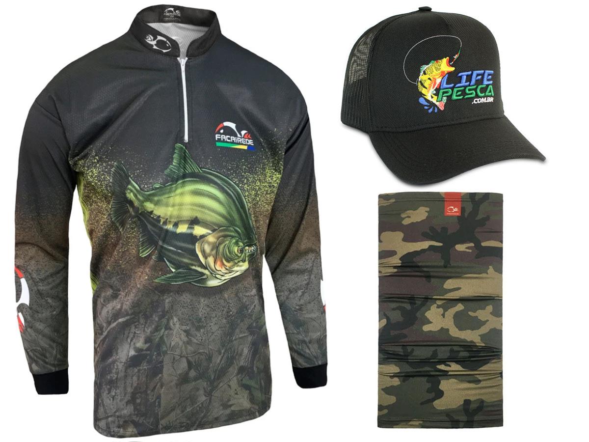Kit Camiseta de Pesca Faca na Rede CS - Tambaqui 2021 + Bandana + Boné