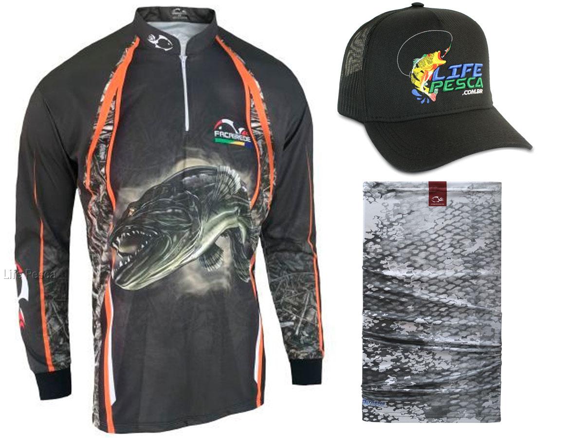 Kit Camiseta de Pesca Faca na Rede CS - Traíra 2021 + Bandana + Boné