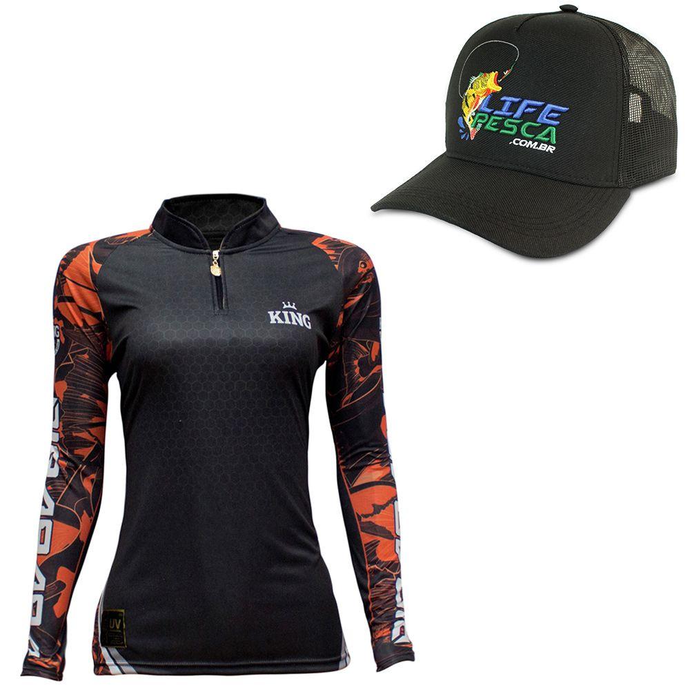 Kit Camiseta De Pesca Feminina King Proteção Solar Uv KFF601 Pirarara + Bone Life Pesca Preto