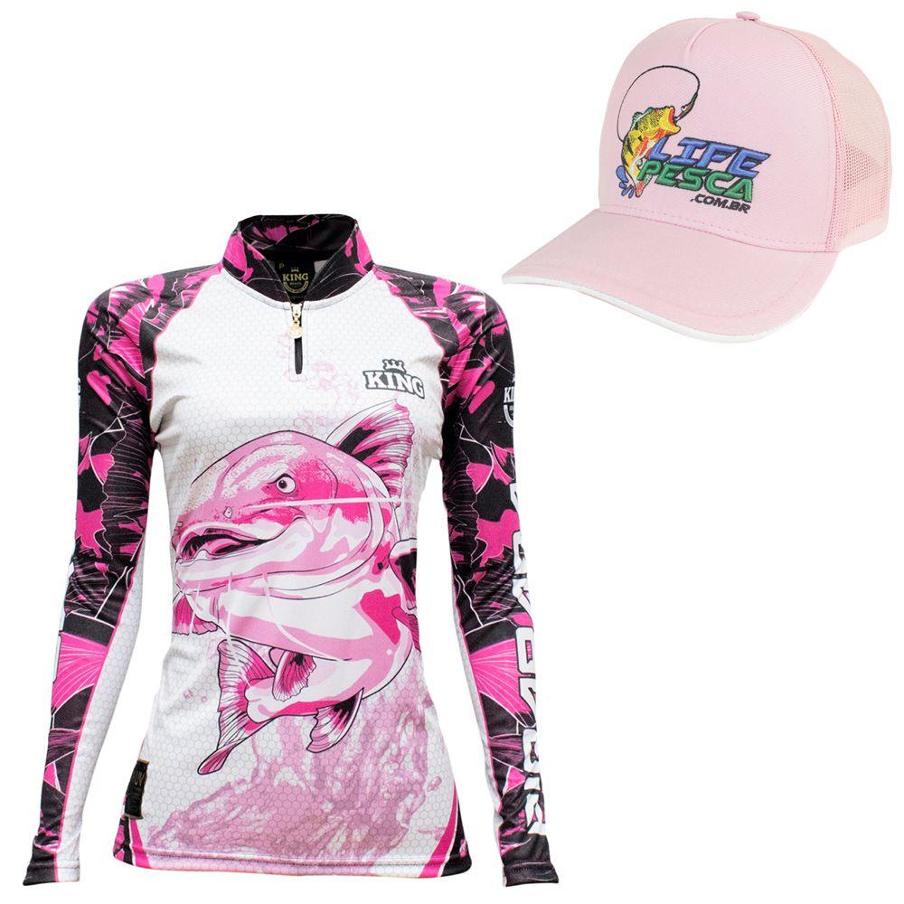 Kit Camiseta De Pesca Feminina King Proteção Solar Uv KFF603 Pirarara + Boné Life Pesca Rosa