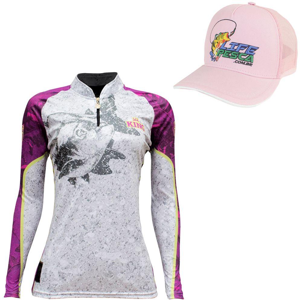 Kit Camiseta De Pesca Feminina King Proteção Solar Uv KFF611 Tamba + Boné Life Pesca Rosa
