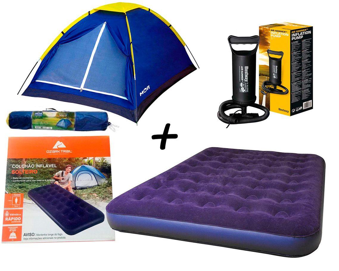 Kit Camping Barraca Iglu P/ Até 2 Pessoas - MOR + Colchão Inflavél Casal - Ozark Trail + Bomba Manual Bestway