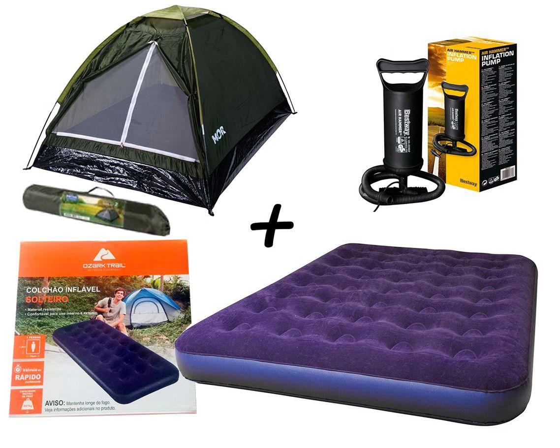 Kit Camping Barraca Iglu P/ Até 2 Pessoas Verde - MOR + Colchão Inflavél Casal - Ozark Trail + Bomba Manual Bestway