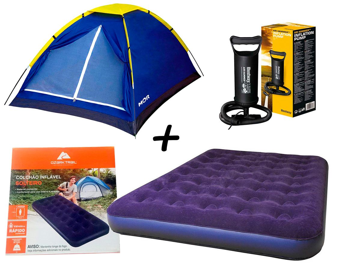 Kit Camping Barraca Iglu P/ Até 3 Pessoas - MOR + Colchão Inflavél Casal - Ozark Trail + Bomba Manual De Ar Bestway