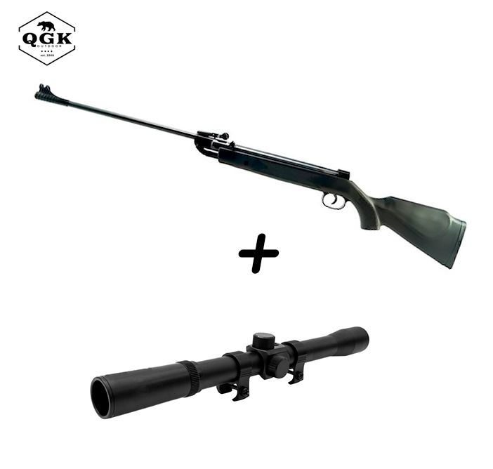 Kit Carabina de Pressão QGK 5,5mm Black Diamond + Luneta Riflescope 4x20mm