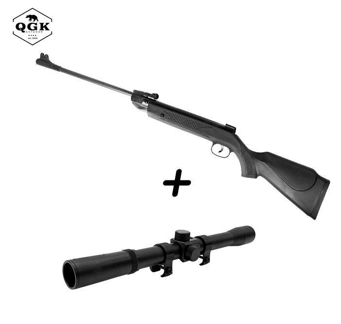 Kit Carabina de Pressão QGK 5,5mm Black Edition + Luneta Riflescope 4x20mm
