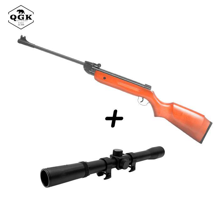 Kit Carabina de Pressão QGK 5,5mm Madeira 14 + Luneta Riflescope 4x20mm