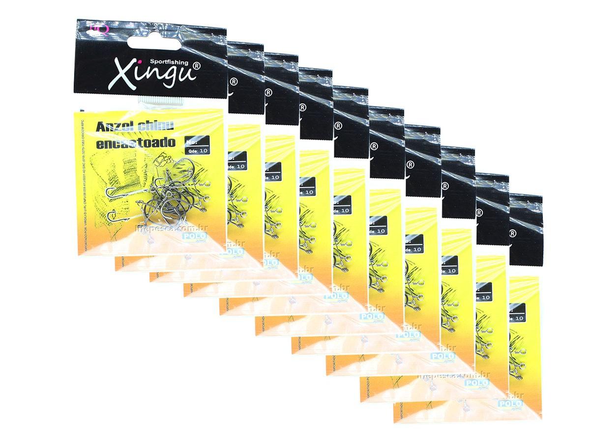 Kit de Anzois Encastoados Xingu Chinu Black N° 7 - 100 Peças