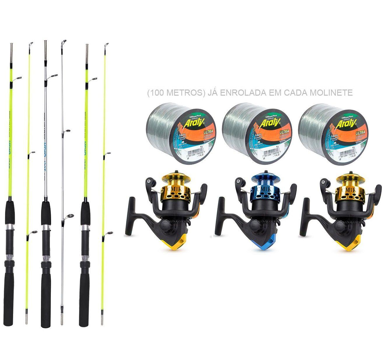 Kit de Pesca 3 Varas e 3 Molinetes C/ Linha (Ref. 08)
