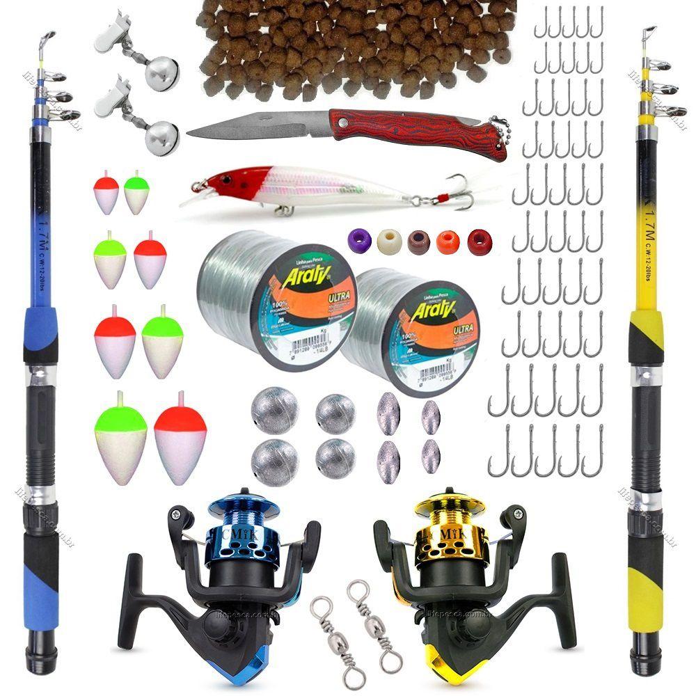 Kit De Pesca C/ 2 Varas Telescópicas 2 Molinetes + Acessórios (Ref. 11)  - Life Pesca - Sua loja de Pesca, Camping e Lazer