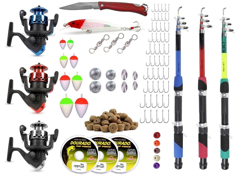 Kit De Pesca C/ 3 Varas Telescópicas e 3 Molinetes + Acessórios (Ref. 12)