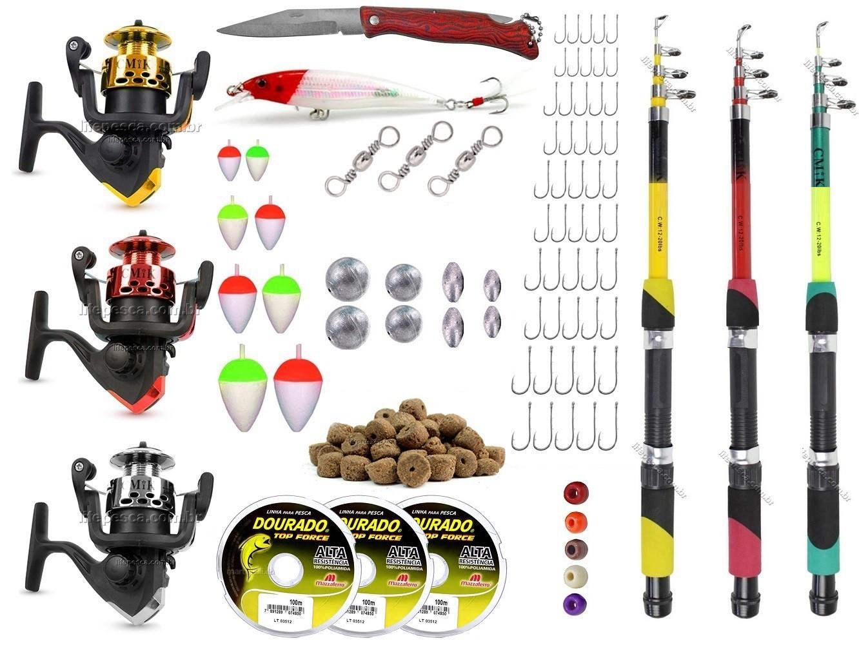 Kit De Pesca C/ 3 Varas Telescópicas e 3 Molinetes + Acessórios (Ref. 12)  - Life Pesca - Sua loja de Pesca, Camping e Lazer
