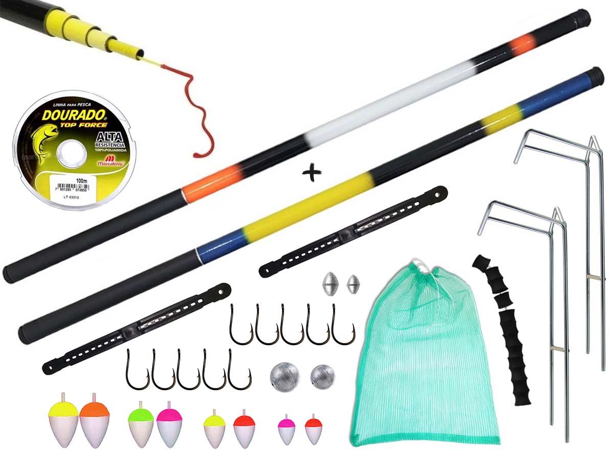 Kit de Pesca Com 2 Varas Telescópicas 2,70m + Suporte p/ Varas + Acessórios (Ref. 126)