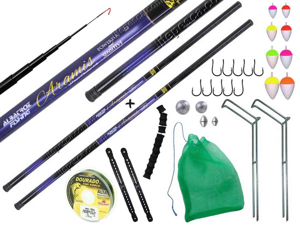 Kit de Pesca Com 2 Varas Telescópicas de Mão 2,10m + Acessórios (Ref. 122)