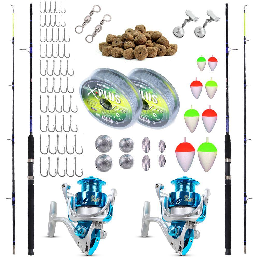 Kit de Pesca Completo 18kg 2 Varas 2,10m 2 Molinetes 4000 (Ref. 10)