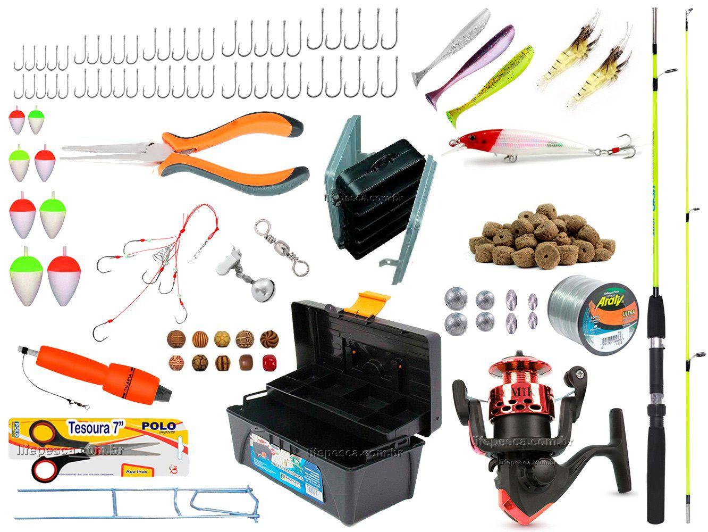 Kit De Pesca Completo 1 Vara 1 Molinete Caixa de Pesca e Acessórios (Ref. 05)