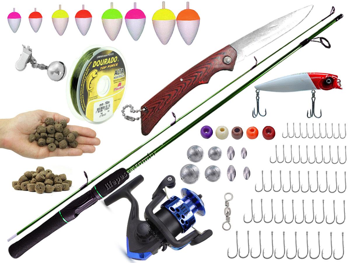 Kit De Pesca Completo 1 Vara 1,20m + 1 Molinete + Acessórios (Ref. 30)