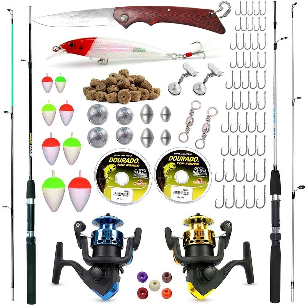 Kit De Pesca Completo 2 Varas 2 Molinetes + Acessórios (Ref. 01)