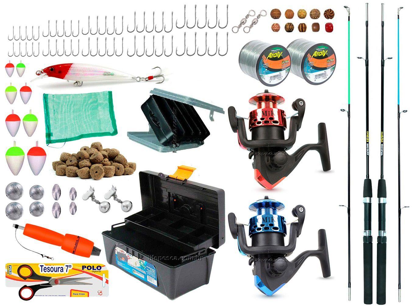 Kit De Pesca Completo 2 Varas 2 Molinetes Caixa de Pesca + Acessórios (Ref. 04)