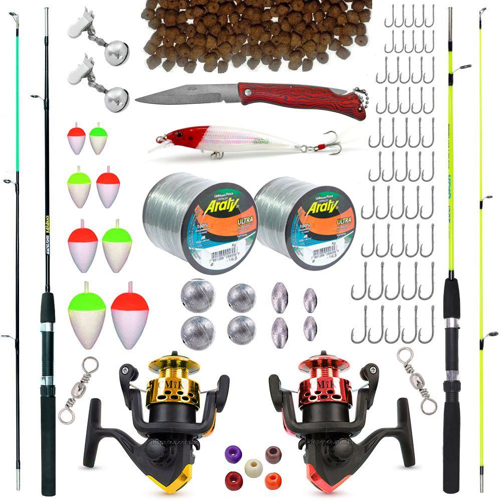 Kit De Pesca Completo 2 Varas 2 Molinetes E Acessórios (Ref. 01)