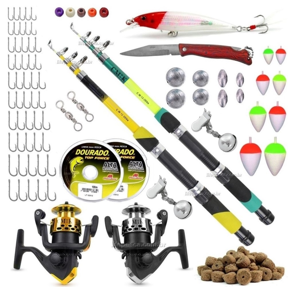 Kit De Pesca Completo 2 Varas Telescópicas 2 Molinetes + Acessórios (Ref. 11)