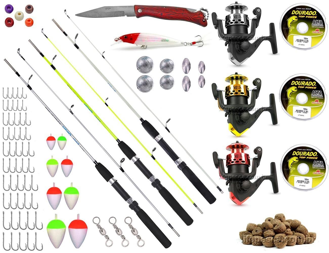 Kit De Pesca Completo 3 Varas 3 Molinetes C/ Acessórios (Ref. 02)