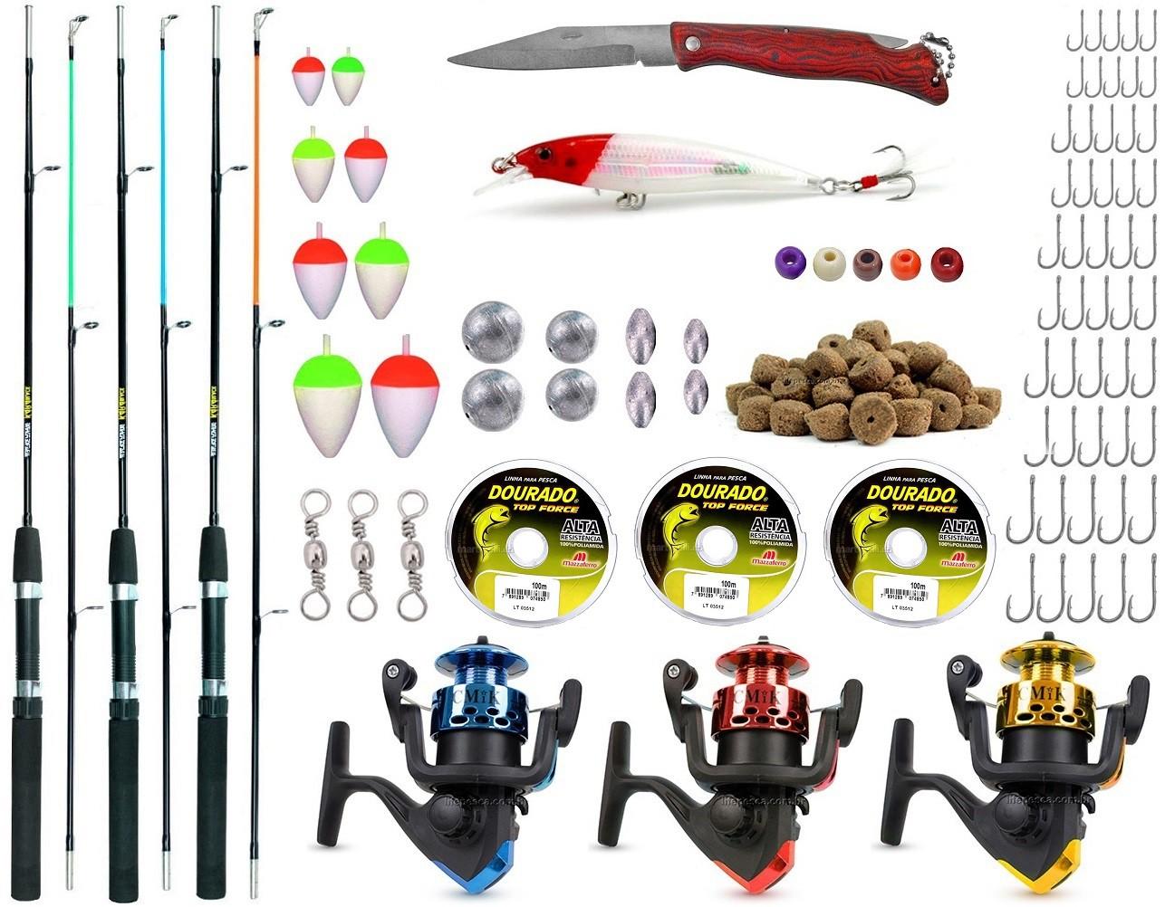 Kit De Pesca Completo 3 Varas 3 Molinetes E Acessórios (Ref. 02)