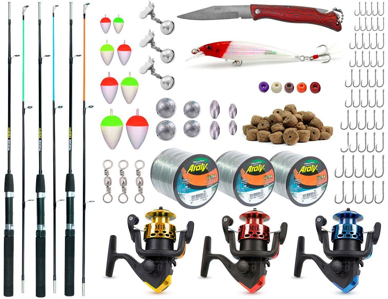 Kit De Pesca Completo 3 Varas 3 Molinetes E Acessórios (Ref. 02)  - Life Pesca - Sua loja de Pesca, Camping e Lazer