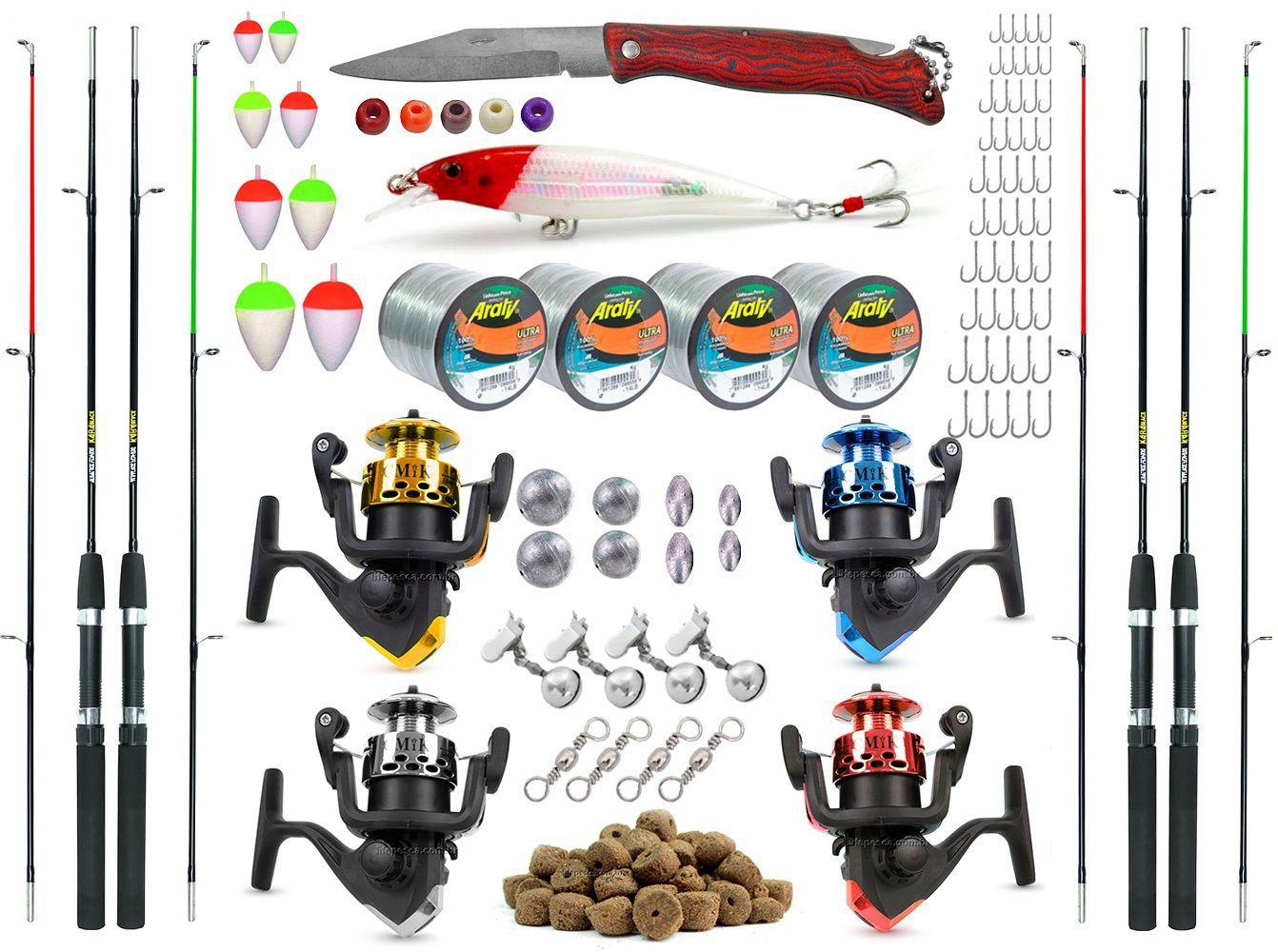 Kit De Pesca Completo 4 Varas 4 Molinetes + Acessórios (Ref. 03)