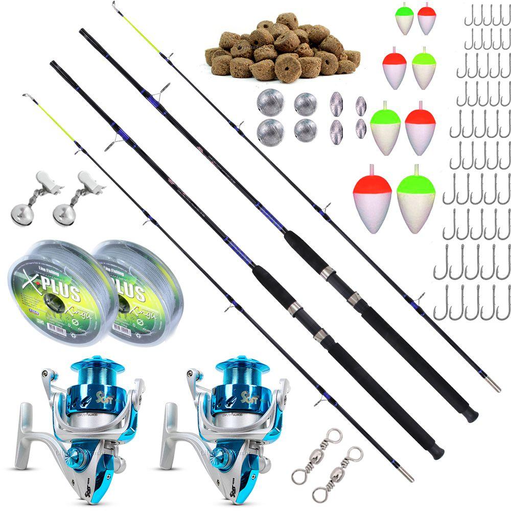 Kit de Pesca Para 18kg 2 Varas 2,10m 2 Molinetes 4000 (Ref. 10)