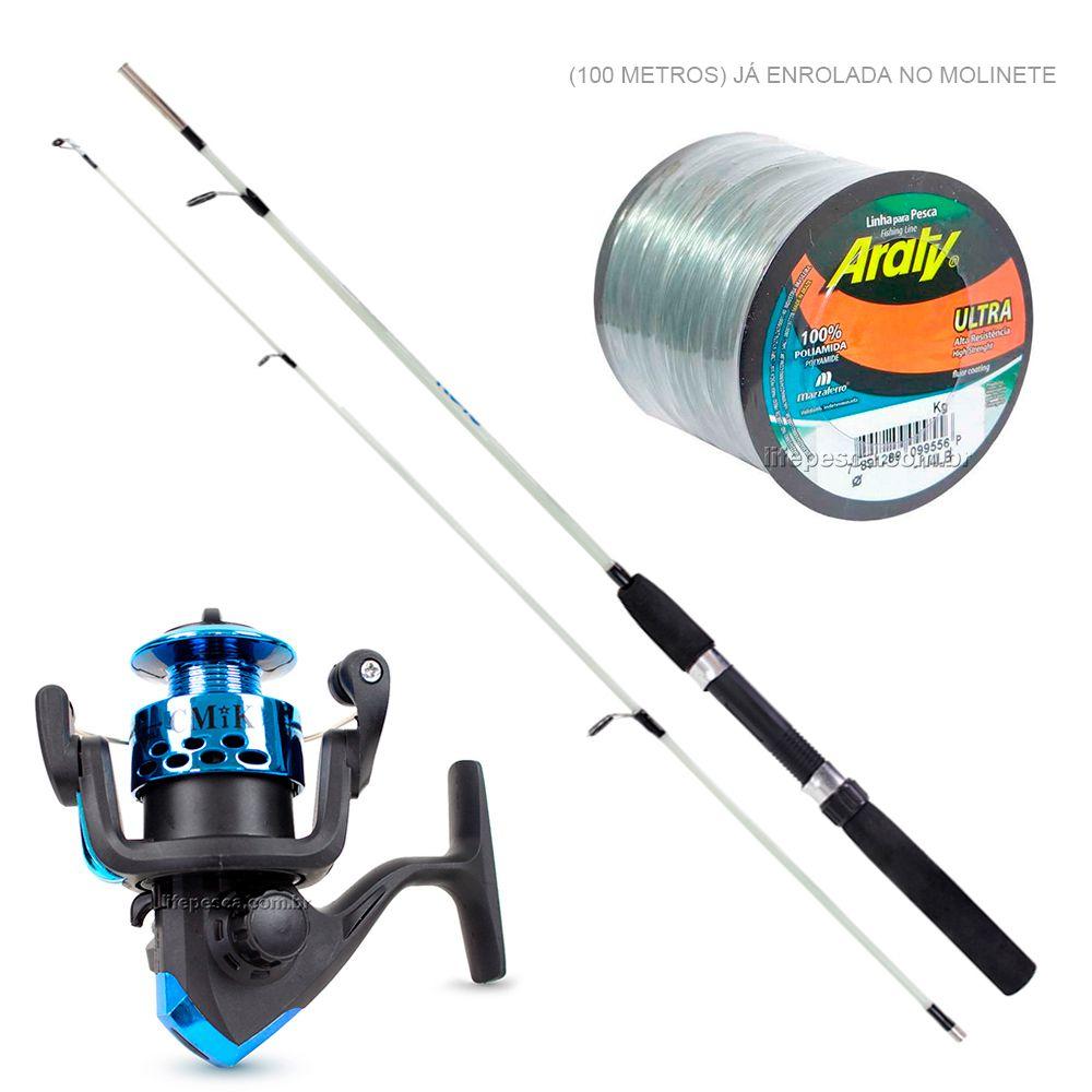 Kit de Pesca Vara C/ Molinete e Linha de Pesca (Ref. 06)