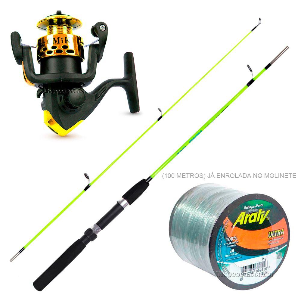 Kit de Pesca Vara e Molinete C/ Linha de Pesca (Ref. 06)