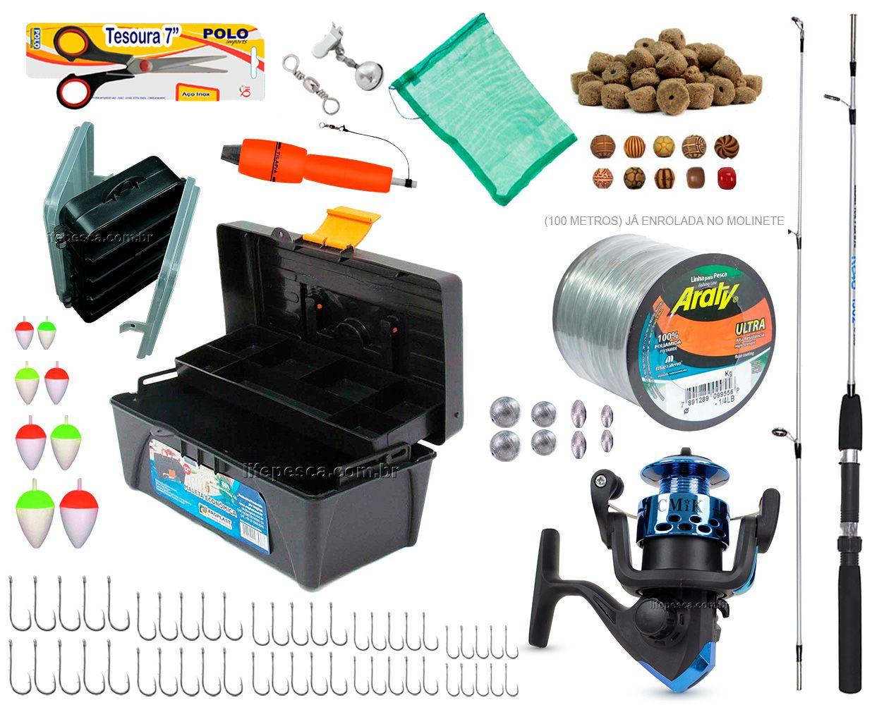 Kit de Pesca Vara Molinete Caixa de Pesca e Acessórios (Ref. 09)