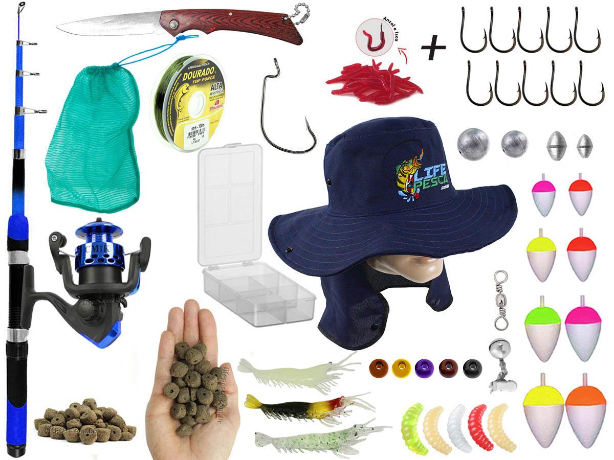 Kit de Pescaria 1 Vara Telescópica 1,70m + 1 Molinete e Acessórios (Ref. 54)